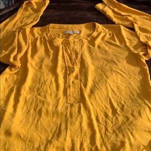 The loft Gold Yellow Flare 5 button blouse small